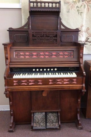 Antique 1800 ' S Sterling Company Pump Organ Full Keyboard 7 Stops.  It photo