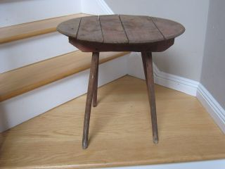 Antique Table Primitive Wine Barrel Lid Table Whiskey Barrel Table Wood Barrel photo