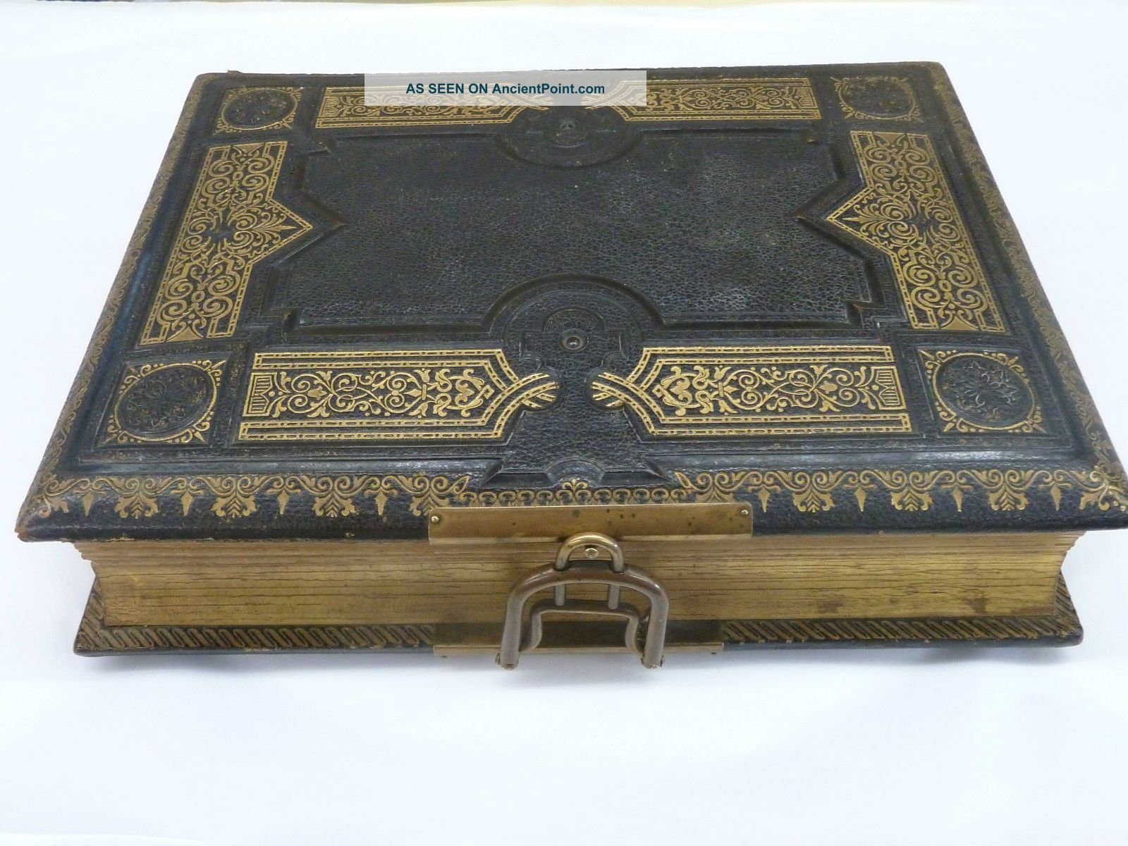 Antique Victorian 2 Aires Music Box Musical Photo Album Leather Bound Other photo