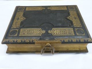 Antique Victorian 2 Aires Music Box Musical Photo Album Leather Bound photo