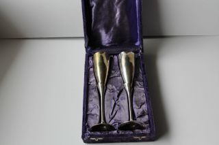 Vintage Pair Silver Plate Wine Goblets With Purple Velvet Case Silk Liner photo
