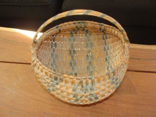 Gorgeous Antique Old Cherokee Oak Splint Buttocks Basket photo