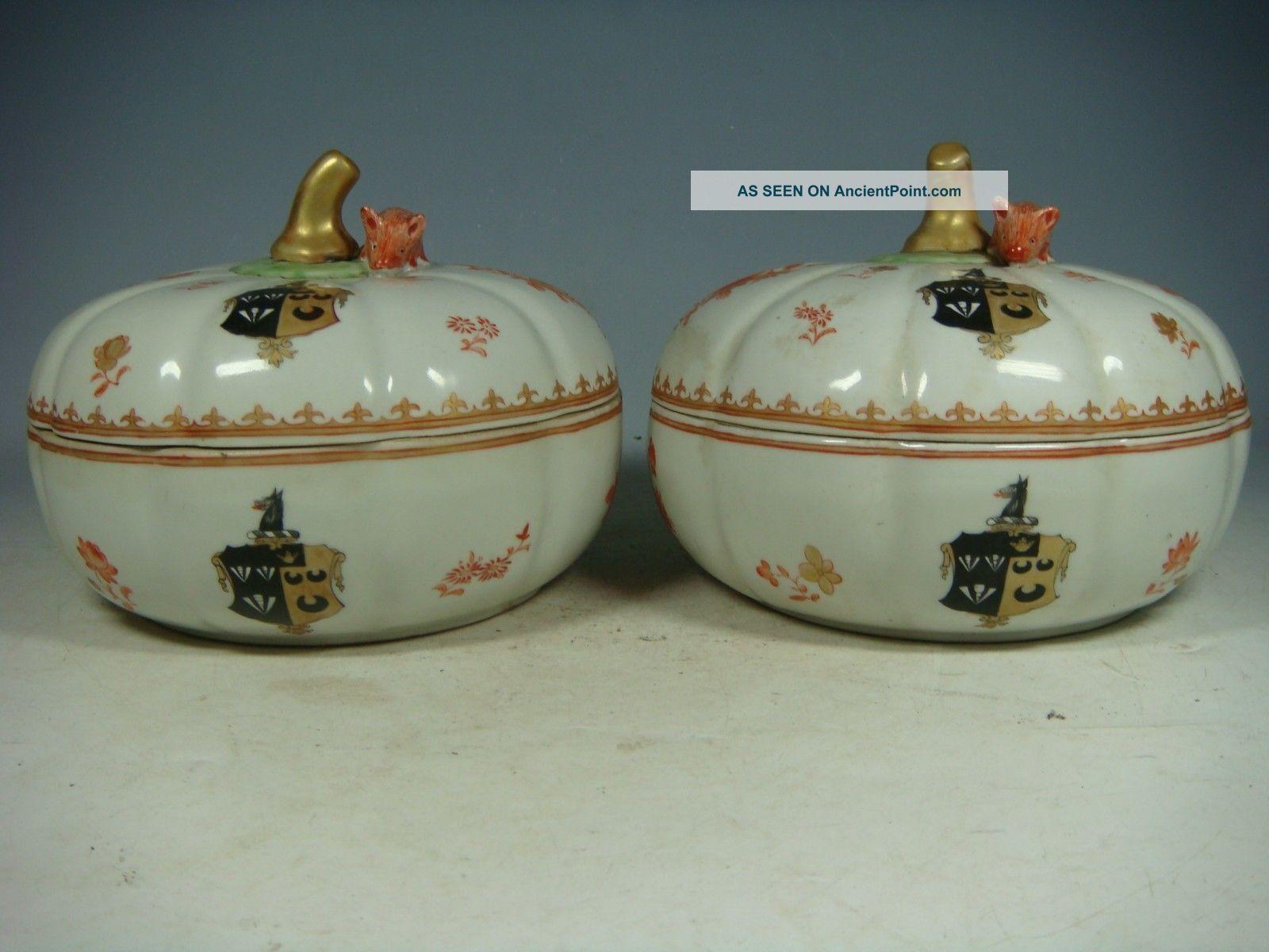 Chinese Export Armorial Porcelain A Pair Boxes Pumpkins Boxes photo