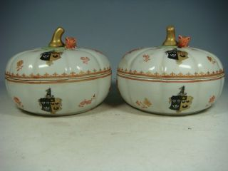 Chinese Export Armorial Porcelain A Pair Boxes Pumpkins photo