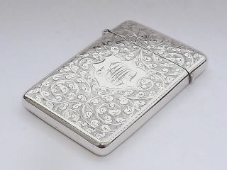 Splendid Antique Solid Sterling Card Case - Birmingham 1905 photo