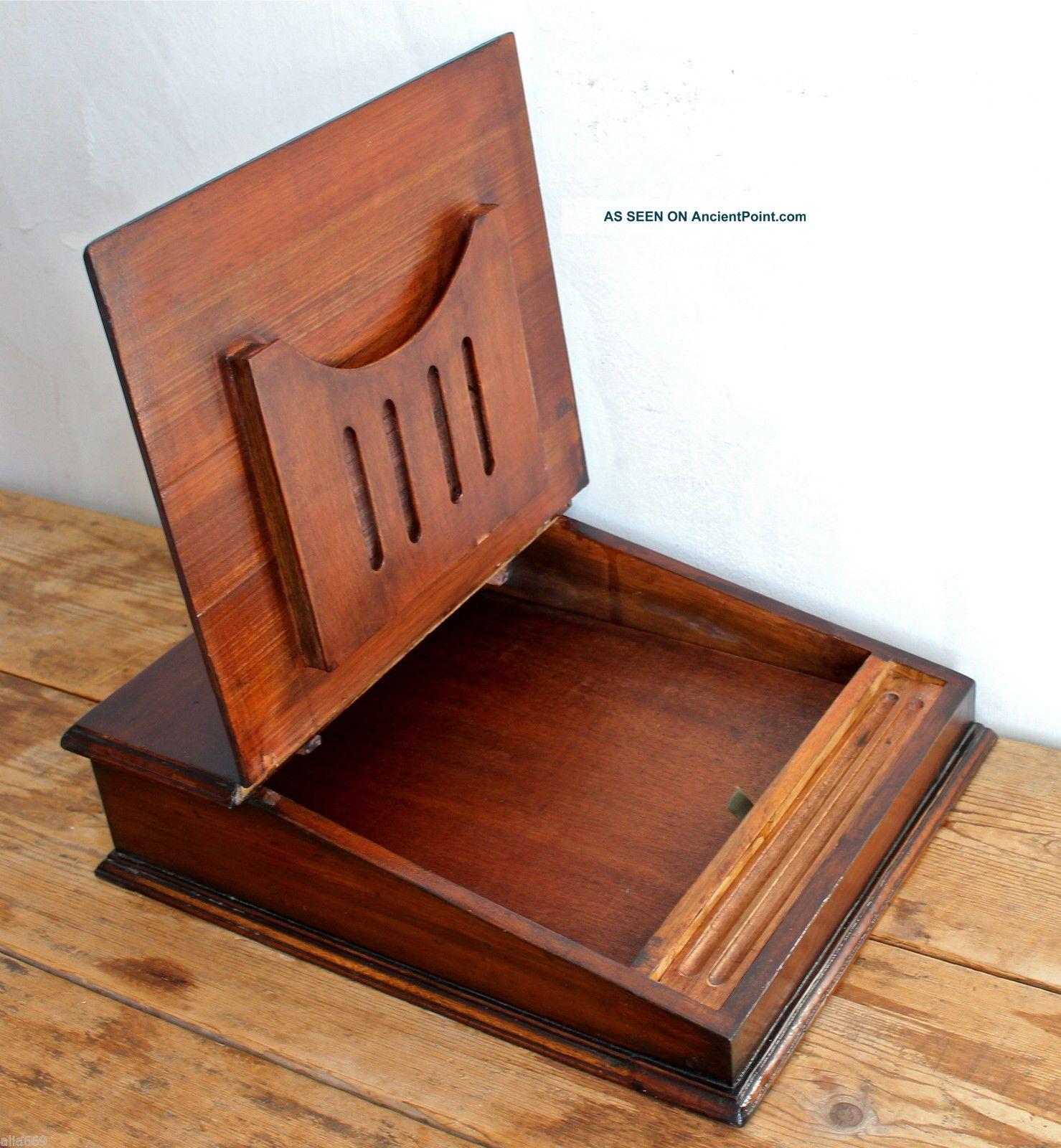 Vintage Antique Writing Slope Stationery Box Secret Drawer Desk Top Tidy Chest 1800-1899 photo