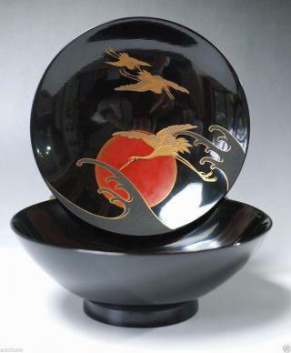 Antique Japanese Makie Urushi Lacquer Wooden Bowl Owan Crane Tsuru photo