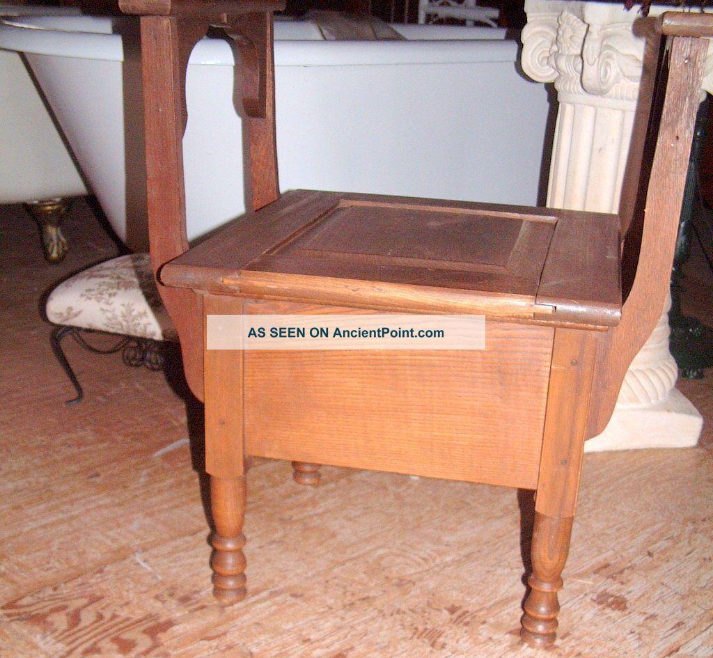 Vintage Commode Potty Toilet Seat Primitive Antique Chamber Pot Wooden Chair