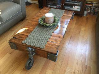 Antique Lineberry Cart Industrial Repurposed Coffee Table photo