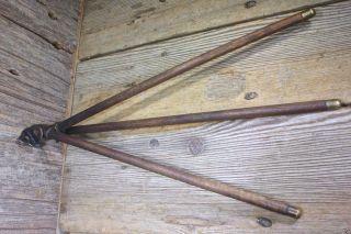 Folding Towel Bar Rack Hanger Hook Wood 3 Drying Rods Old Vintage 1800's Bath photo