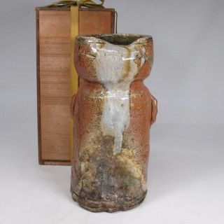 F394: Japanese Old Shigaraki Pottery Ware Flower Vase Good Shape. photo