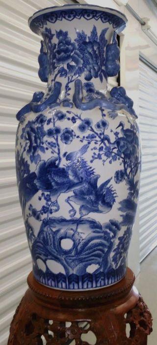 Fantastic Large Chinese Blue & White Porcelain Vase W/ Elegant Birds And Flowers photo