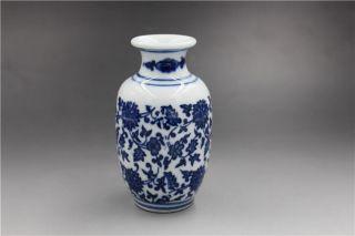 Rare Blue & White Hand - Painted Longevity Vine Vase W Qing Dynasty Qianlong Mark photo