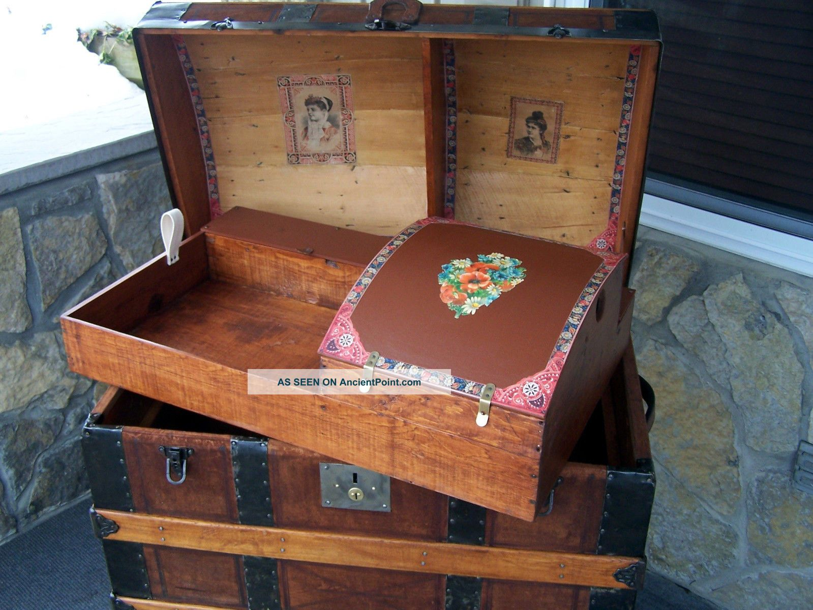 Antique Vintage Steamer Trunk Chest Dome Top Leather Trunk With Tray 1800-1899 photo