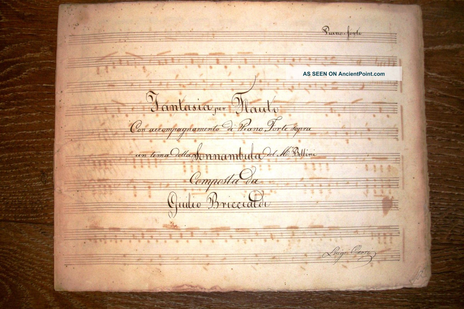 Handwritten Music Score Giulio Briccialdi From