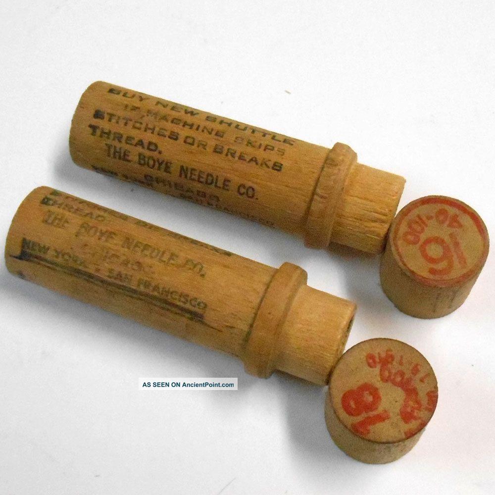 Antique 2 Pc Empty Boye Needle Co Wood Sewing Machine Parts Holder/case/tube Box Needles & Cases photo