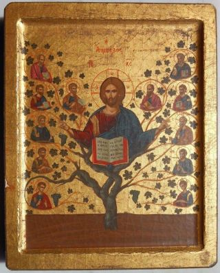 Jesus Christ Vine Tree - Greek Byzantine Icon On Wood Certificated photo