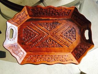 Vintage Antique Wood Carved Serving Tray Raised Sides photo