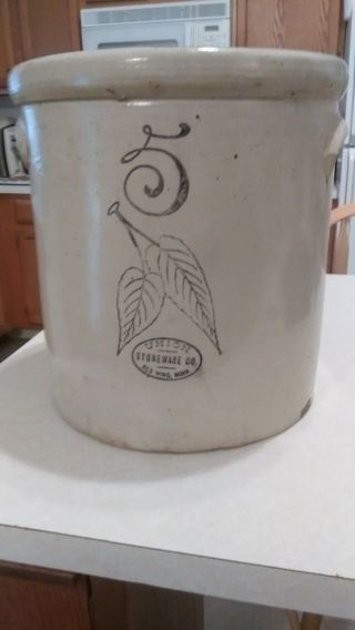 Antique Vtg Red Wing Union 5 Gallon Birch Leaf/elephant Ear Crock Stoneware photo