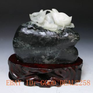 100 Natural Dushan Jade Hand - Carved Two Chicks Statue photo
