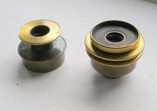 19th.  C.  Brass Microscope Accessories: 2 X Substage Polarisers (nicol Prisms) photo