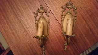 Antique Art Deco Polychromed Bronze Electric Wall Sconces Lights W/chain photo