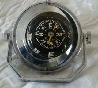 Vtg Ycm Japanese Self Leveling Small Craft Nautical Compass,  Metal Case & Handle photo