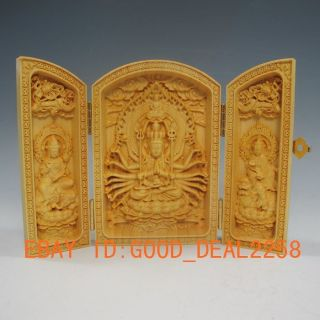Boxwood Highly Difficulty Carved Floding Box - - - Avalokitesvara & Heart Sutra/11 photo