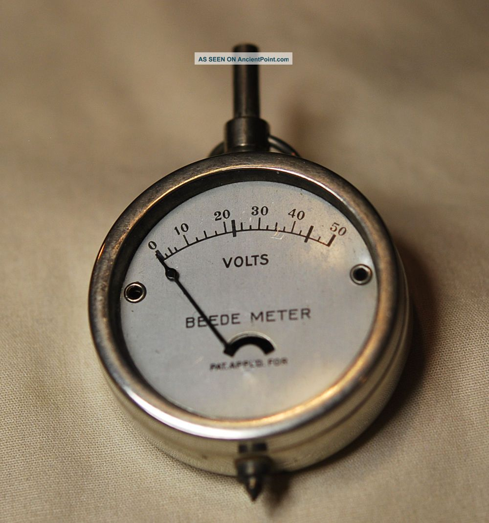 1940 ' S Vintage Beede Meter - 50 Volts - Metal Case With Glass Front Other photo