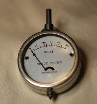 1940 ' S Vintage Beede Meter - 50 Volts - Metal Case With Glass Front photo