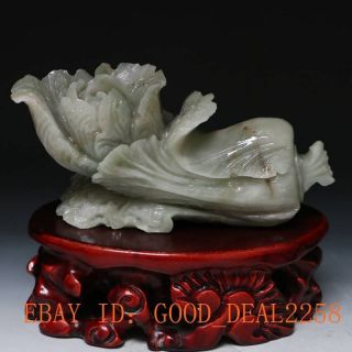 100 Natural Hetian Jade Hand - Carved Chinese Cabbage Statue photo