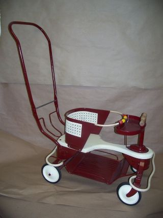Vintage 1950s Taylor Tot Baby Stroller Buggy Restored And Painted.  Red White Nr photo