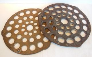 Vintage Antique Cast Iron Round Dutch Oven Or Skillet Trivets photo