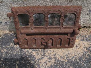 Antique Victorian Cast Iron Stove Door Shabby Fleur De Lis Steampunk Mail Slot photo