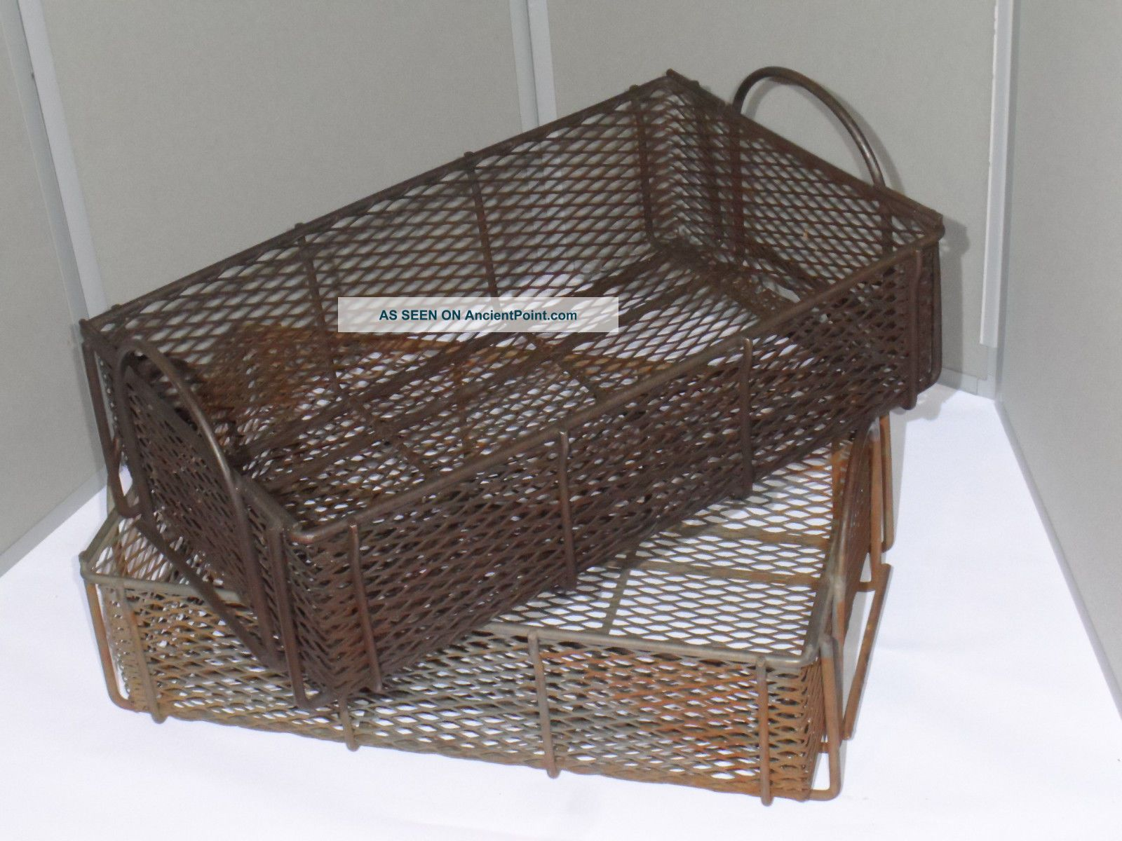 2 Vintage 1950s Heavy Duty Steel Wire Industrial Baskets/totes Distressed Metal Other photo