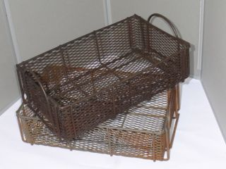 2 Vintage 1950s Heavy Duty Steel Wire Industrial Baskets/totes Distressed Metal photo