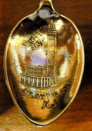 Antique Sterling Souvenir Spoon,  Lighthouse,  Atlantic City,  Jersey photo