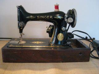 Antique 1925 Singer Portable Electric Sewing Machine W/original Case photo