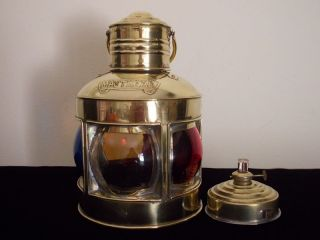Brass Kerosene Marine Lamp Vintage Rare Maritime 360 Glass Lens Antiques Ship @ photo