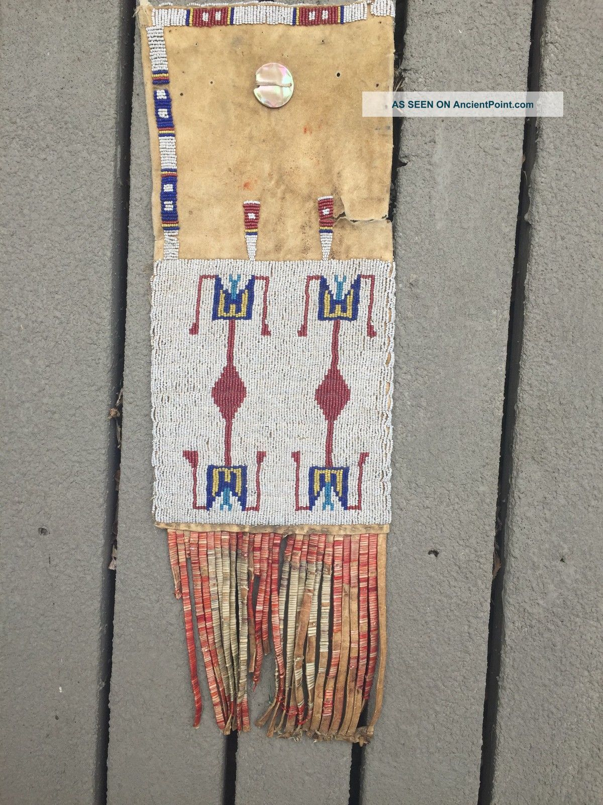 19th Century Beaded And Quilled Plains Tobacco Pipe Bag Native American photo