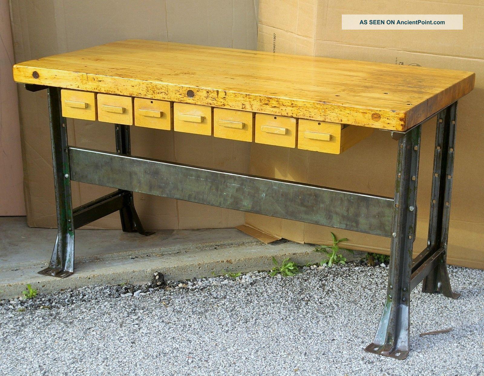 Industrial kitchen work island butcher block steel legs vintage