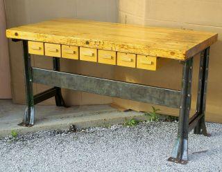 Industrial Kitchen Work Island Butcher Block Steel Legs Vintage Workbench photo