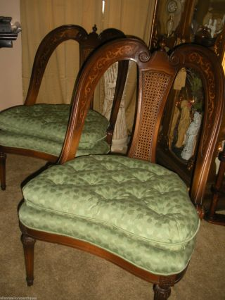 Antique French Chairs Cane Back Inlaid Walnut Pair Heart photo