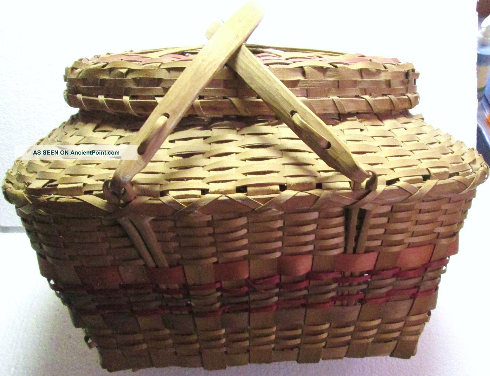 Native American Woodland Indian Old Split Wood Covered & Handled Basket Native American photo