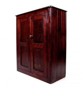 Antique Victorian Cupboard Cabinet Pantry Rustic Farmhouse Country Kitchen Pine photo