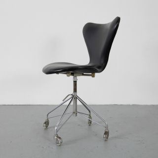 Office Leather Chair 3117 By Arne Jacobsen For Fritz Hansen 60s | Büro Drehstuhl photo