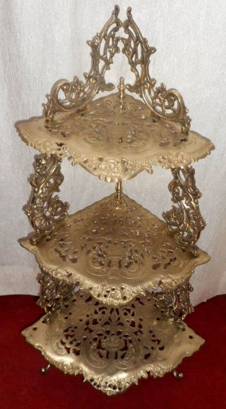 India Vintage Brass 3 Tiered Corner Stand Hand Casted,  Art Deco,  Folding Stand photo