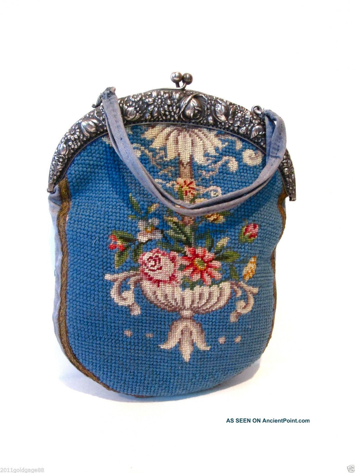 Antique Hand Made Purse,  Hand Made,  800 Silver Frame,  Decorated With Flowers. Germany photo