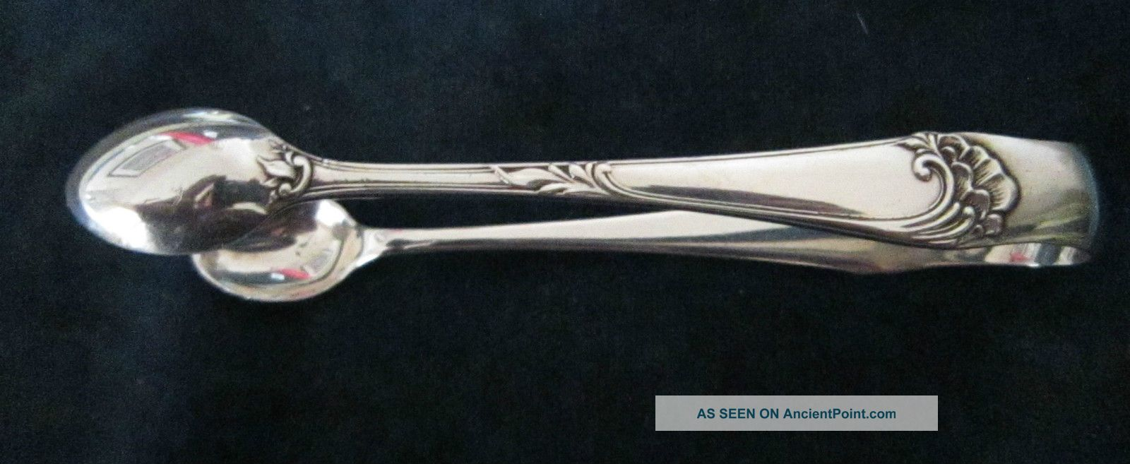 Antique Solid Silver Sugar Tongs - Birmingham 1896 Sugar Bowls & Tongs photo