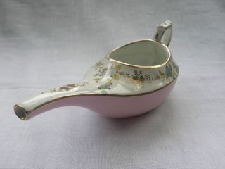 Antique Porcelain Invalid Feeder Pap Boat Pink Body Colour Vgc photo
